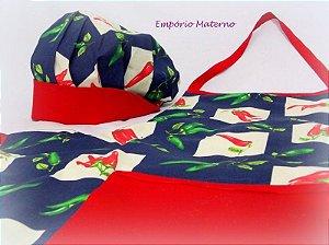 kit Avental e Touca - Pimenta quadriculado com vermelho