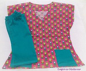 Pijama Cirúrgico - Matrioskas fundo rosa SEM BORDADO - Confecção 7 dias úteis