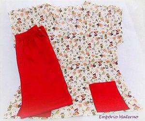 Pijama Cirúrgico - Chápeuzinho vermelho SEM BORDADO - Confecção 7 dias úteis