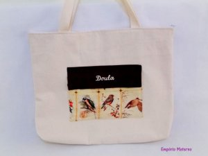 Bolsa de lona personalizada - passarinhos