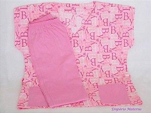 Pijama Cirúrgico - Baby rosa SEM BORDADO - Confecção 7 dias úteis