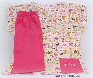 Pijama Cirúrgico - Gatinhos COM BORDADO - Confecção 7 dias úteis