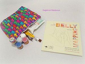 Livro Belly Mapping + Kit para pintura de barriga  - Tecido digital gatinhos
