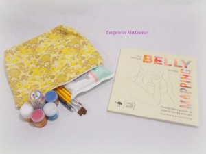 Livro Belly Mapping + Kit para pintura de barriga  - Tecido digital floral amarelo
