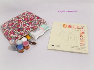 Livro Belly Mapping + Kit para pintura de barriga  - Tecido digital floral bordo