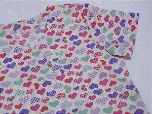 Pijama Cirúrgico -  Corações 01 - Manga curta COM BORDADO - Confecção 7 dias úteis