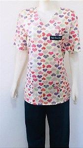 Pijama Manga Curta Feminino - Corações 01 - Confecção 7 dias úteis