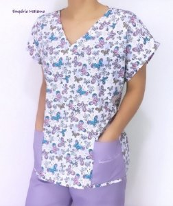 Pijama Cirúrgico - Gola V - Manga Japonesa - Blusa Estampada Borboletas 03