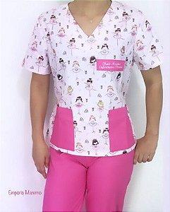 Pijama Cirúrgico - Gola V - Manga curta - Blusa Estampada Bailarina 01