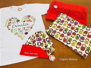 Kit Personalizado com Bolsa térmica - Rebozo - Baby Look - Touca Bordada