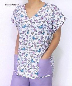 Pijama Cirúrgico Manga Japonesa - Gola V - Blusa estampada borboletas 03 - Cor da calça opcional