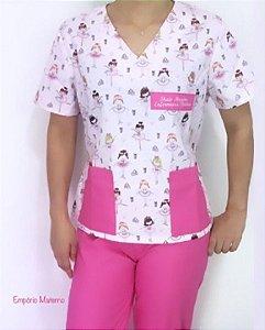 Pijama Cirúrgico Manga Curta - Gola V - Blusa estampada Bailarina 01- Cor da calça opcional
