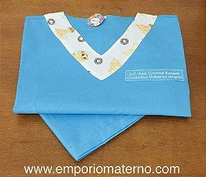 Pijama Cirúrgico - Gola V - Manga Japonesa - liso azul água com detalhes simba 01