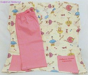 Pijama Cirúrgico - Gola V - Manga Japonesa Blusa Estampada Bailarina 03 - Cor da calça opcional