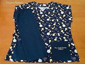 Pijama Cirúrgico - Gola V - Manga Japonesa - Blusa Estampada Pequeno Príncipe 1 - Cor da calça opcional