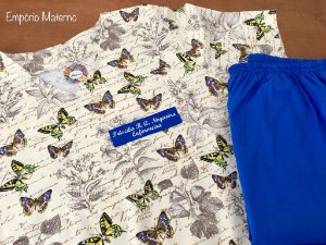 Pijama Cirúrgico Manga Curta - Gola V - Blusa estampada Borboleta 05 - Cor da calça opcional
