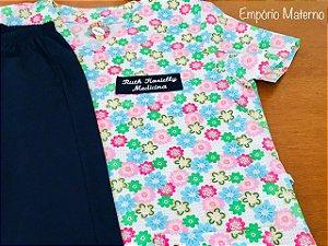 Pijama Cirúrgico Manga Curta - Gola V - Blusa estampada Flores 01- Cor da calça opcional