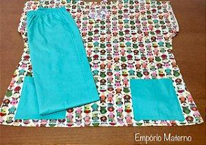 Pijama Cirúrgico - Gola V - Manga Japonesa Blusa Estampada Coruja 05 - Cor da calça opcional