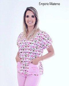 Pijama Cirúrgico - Gola V - Manga Japonesa Blusa Estampada Coruja 02 - Cor da calça opcional
