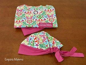 Pijama Cirúrgico - Gola V - Manga Japonesa Blusa Estampada borboleta 06 - Cor da calça opcional  + TOUCA
