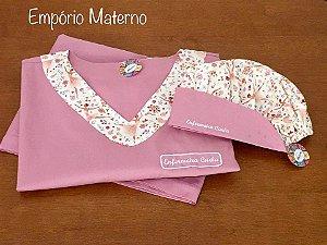 Pijama Cirúrgico - Gola V - Manga Japonesa Blusa lisa com detalhes na estampa bailarina digital - Cor da calça lisa opcional  + TOUCA