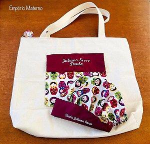 Bolsa personalizada Matrioskas 01 + Touca - com bordado