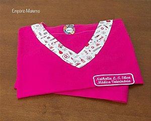 Pijama Cirurgico - Manga Japonesa - Liso Pink com detalhes estampados - Pode alterar a estampa