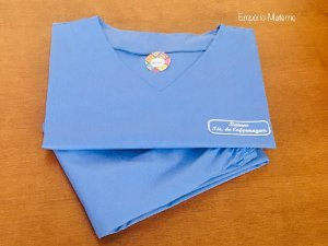Pijama Cirúrgico - Gola V - Manga Japonesa - Liso Azul Italiano - LEIA A DESCRIÇÃO