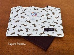 Pijama Cirúrgico - Gola V - Manga Curta - Estampado Cavalos 02 - LEIA A DESCRIÇÃO