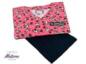 Pijama Cirúrgico - Gola V - Manga Japonesa - Blusa Estampada Minnie 07 Lançamento  - Leia a Descrição