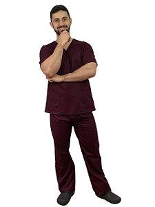 Pijama Cirúrgico Masculino Bordô