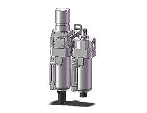 AC30A-F03DE-8-B LUBRIFIL COMCOMPLETO COM MANOMETRO COPO METALICO DRENO AUTOMATICO ROSCA 3/8 - SERIE AC-B SMC