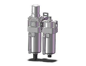 AC40A-F04DE-8-B LUBRIFIL COMCOMPLETO COM MANOMETRO COPO METALICO DRENO AUTOMATICO ROSCA 1/2 - SERIE AC-B SMC