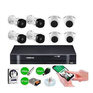 8 Câmeras Intelbras Vhl 1120 B e Vhl 1120 D +HD e DVR Mhdx 1108