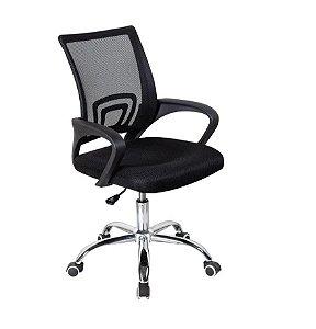 Cadeira Escritório Giratória Tela Mesh Com Base Cromada