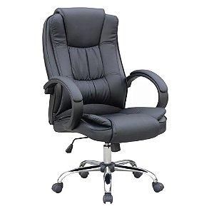 Cadeira Escritório Presidente Preta Giratória Com Regulagem de Altura