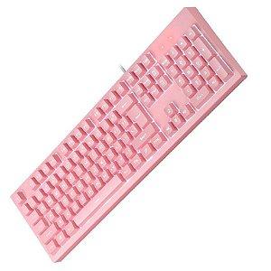 Teclado gamer com fio usb rosa 104 teclas