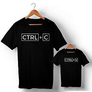 Kit Ctrl+C Ctrl+V Preto Camiseta Unissex e Camisetinha Infantil