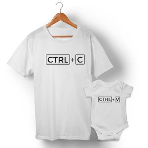 Kit Ctrl+C Ctrl+V Branco Camiseta Unissex e Body Infantil