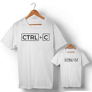 Kit Ctrl+C Ctrl+V Branco Camiseta Unissex e Camisetinha Infantil