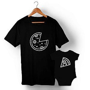 Kit Pizza e Pedaço de Pizza Preto Camiseta Unissex e Body Infantil