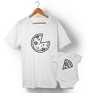 Kit Pizza e Pedaço de Pizza Branco Camiseta Unissex e Body Infantil