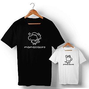 Kit Família Sauro Mãe e Filha Preto e Branco Camiseta Unissex e Camisetinha Infantil