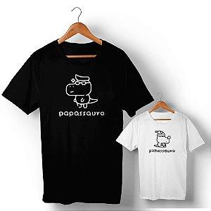 Kit Família Sauro Pai e Filho Preto e Branco Camiseta Unissex e Camisetinha Infantil