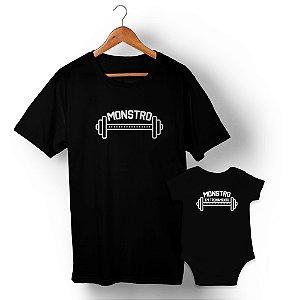 Kit Monstro e Monstro em Treinamento Preto Camiseta Unissex e Body Infantil