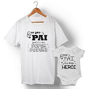Kit Pai Herói Branco Camiseta Unissex e Body Infantil