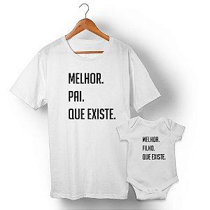 Kit Melhor Pai Melhor Filho Branco Camiseta Unissex e Body Infantil
