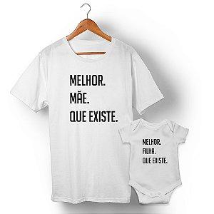 Kit Melhor Mãe Melhor Filha Branco Camiseta Unissex e Body Infantil