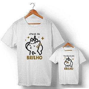 Kit Cheia de Brilho com Glitter Branco Camiseta Unissex e Camisetinha Infantil