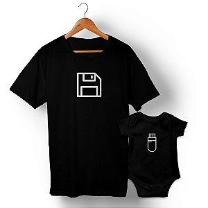 Kit Disquete Interface Preto Camiseta Unissex e Body Infantil